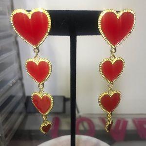 Sweetheart Red & Gold Chandelier Earrings
